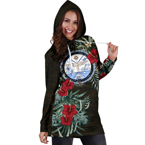 Image of Marshall Islands 1 Hibiscus Hoodie Dress A7
