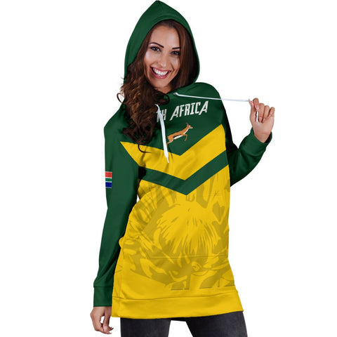 Image of 1stTheWorld South Africa Hoodie Dress - South African Rising King Protea Women Yellow A10