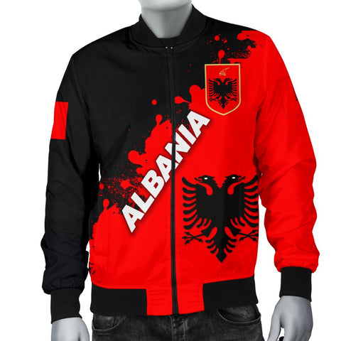 Albania Men Bomber Jacket Red Braved Version K12