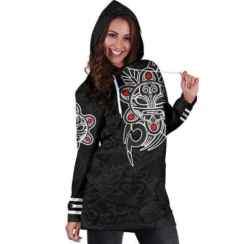 Image of Puerto Rico Taino Sun Coqui Frog Tribal Hoodie Dress A15