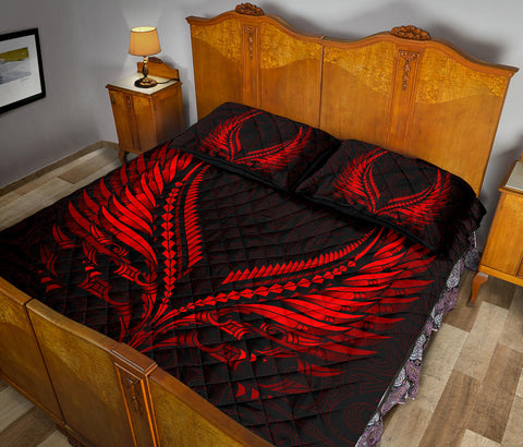 Image of New Zealand Quilt Bed Set Aotearoa - Maori Fern Tattoo Red A7