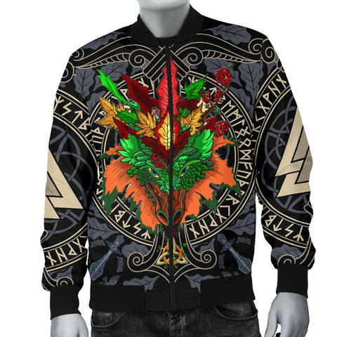 Celtic Lughnasadh Autumn Dragon Men's Bomber Jacket - Celtic Autumn Leaf Pattern - BN21