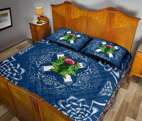 Image of Scotland Quilt Bed Set - Saltire Thistle Quilt Bed Set