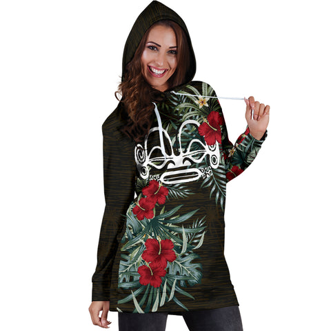 Image of Marquesas Islands 2 Hibiscus Hoodie Dress A7