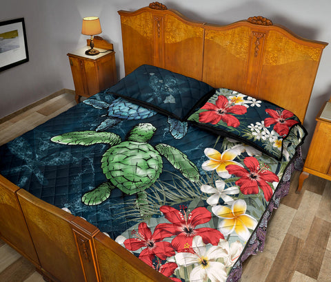 Kanaka Maoli (Hawaiian) Quilt Bed Set - Sea Turtle Tropical Hibiscus And Plumeria A24