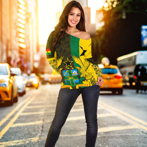 Image of Ghana Coat Of Arm Kente Women's Off Shoulder Sweater - J4