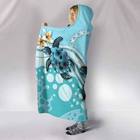 Cook Islands Hooded Blanket - Blue Turtle Hibiscus A24