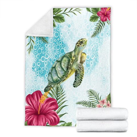Hawaii Cute Turtle And Hibiscus Premium Blanket |Home Set | 1sttheworld