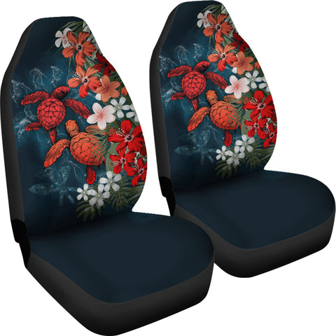 Kanaka Maoli (Hawaiian) Car Seat Covers - Sea Turtle Tropical Hibiscus And Plumeria Red A24