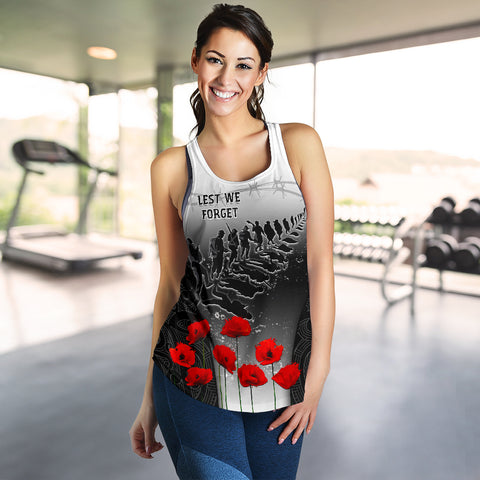 Image of New Zealand Anzac Women's Racerback Tank - Lest We Forget Poppy A02