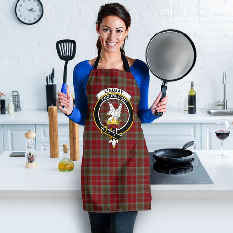 Image of Lindsay Weathered Tartan Clan Crest Apron HJ4