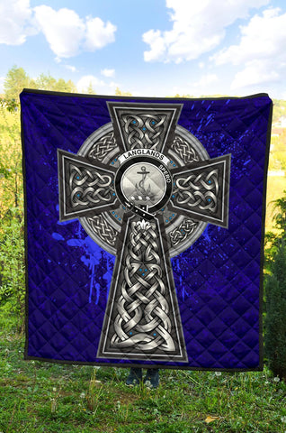Langlands Crest Scottish Celtic Cross Scotland Quilt A7
