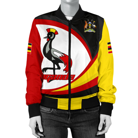 1stTheWorld Uganda Bomber Jacket, Uganda Strong Flag Women A10