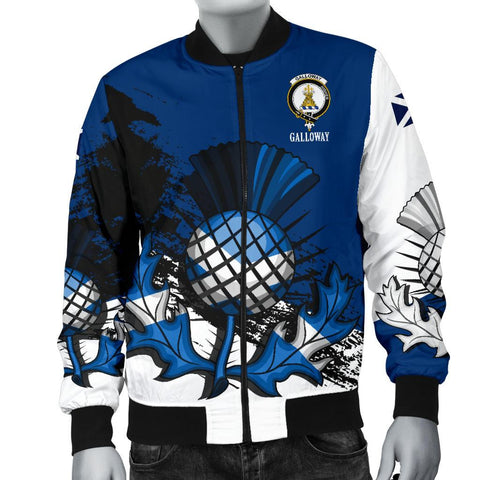 Image of Galloway Crest Scottish Thistle Scotland Men's Bomber Jacket | Clothing | 1sttheworld