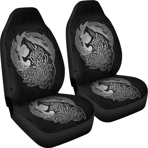 Norse Viking Car Seat Covers - Viking Wolf Celtic Galaxy Car Seat Covers Gray J1
