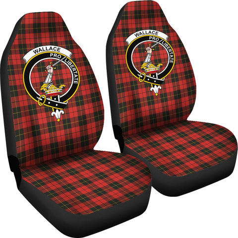 Wallace Tartan Car Seat Cover - Clan Badge K7