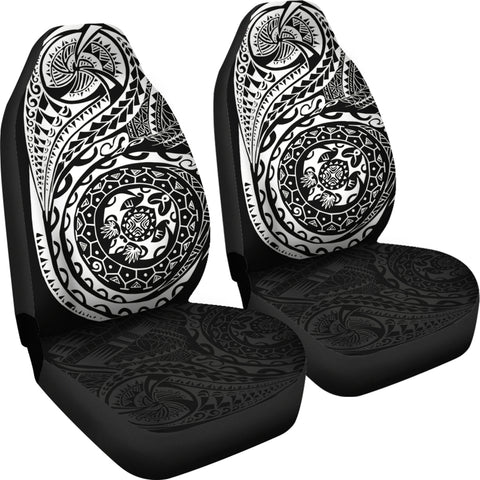 Image of Polynesian Tattoo Style Car Seat Covers White A7