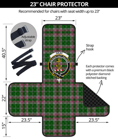 Gray Hunting Tartan Clan Badge Sofa Protector K7