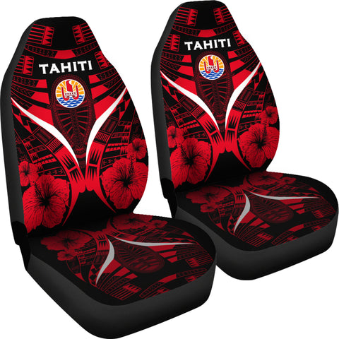 Tahiti Tattoo Car Seat Covers Hibiscus - Red Color 4