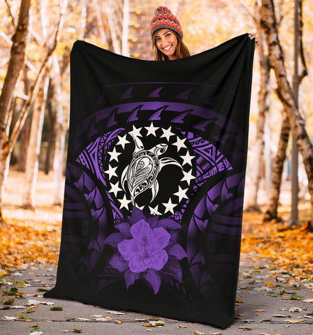 Cook Islands Premium Blanket - Purple Hibiscus A02