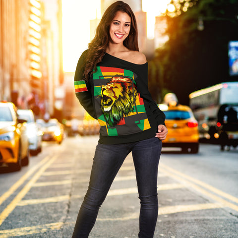 Image of 1stTheWorld Ethiopia Off Shoulder Sweater, Ethiopia Lion Abstrato Black A10