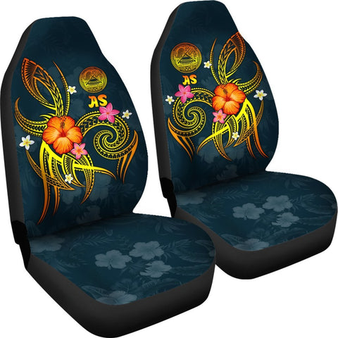 Image of American Samoa Polynesian Car Seat Covers - Legend of American Samoa (Blue)