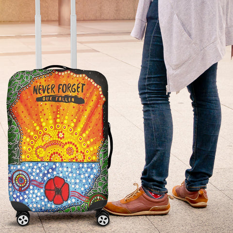 Aboriginal Australian Anzac Day Luggage Covers - Lest We Forget Poppy 4