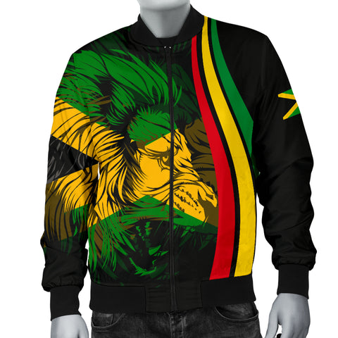 1stTheWorld Jamaica Flag Rasta Lion Men's Bomber Jacket - Ten Style - J6