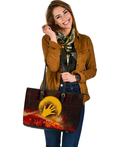 Australia Aboriginal Leather Tote Bag - Indigenous Flag Hand Art