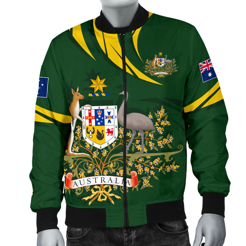 1stTheWorld Australia Bomber Jacket, Australia Coat Of Arms Green A10