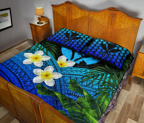 Image of Kanaka Maoli (Hawaiian) Quilt Bed Set, Polynesian Plumeria Banana Leaves Blue | Love The World