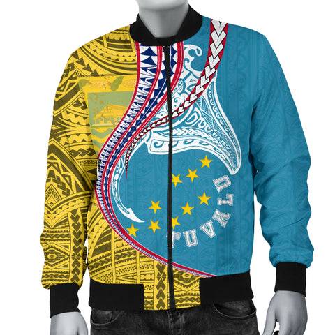 Image of Tuvalu Men's Bomber Jacket Manta Polynesian TH65