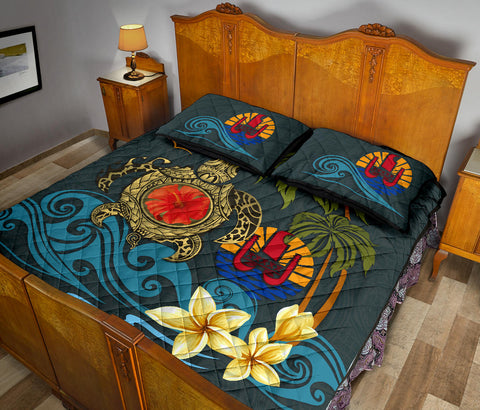 Tahiti Quilt Bed Set - Coat Of Arm Turtle Hibiscus A24
