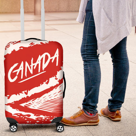 Image of Canada Luggage Covers - Red White Color Blur Style