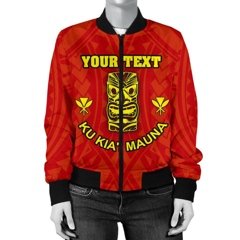 Hawaii Mauna Kea Women's Custom Personalised Bomber Jacket- Tiki Mask - BN12
