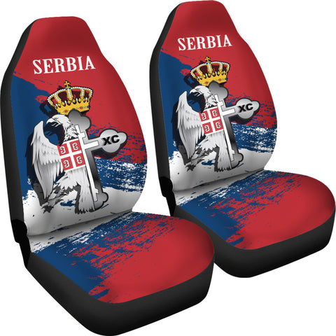 Image of Serbia Car Seat Covers - Serbian Eagle / Orthodox Cross A7