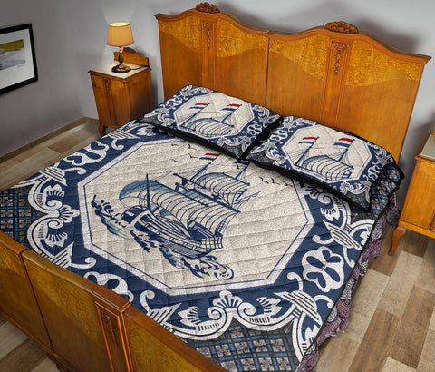 Nederland Quilt Bed Set - Dutch Boat Delft Blue A18