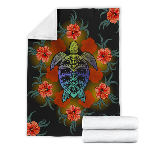 Hawaiian Red Hibiscus And Big Turtle Premium Blanket |Home Set | 1sttheworld