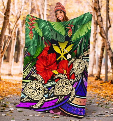 Kanaka Maoli (Hawaiian) Premium Blanket - Polynesian Turtle Colorful And Hibiscus| Love The World