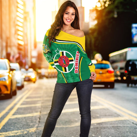 Dominica Off Shoulder Sweater Circle Stripes Flag Version K13