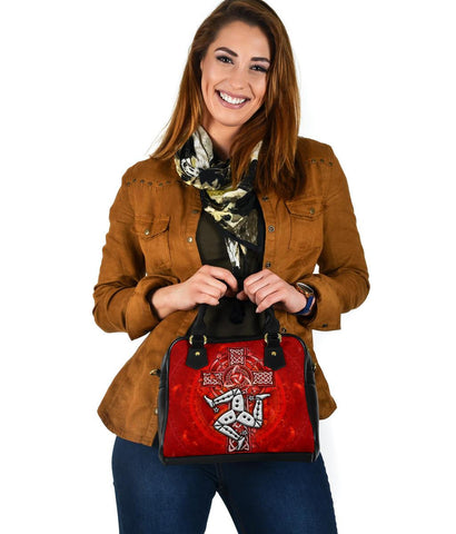 Isle of Man Celtic Shoulder Handbag - Triskelion With Celtic Cross (Red)