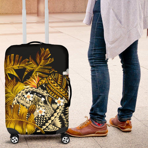Image of Kanaka Maoli (Hawaiian) Luggage Covers, Polynesian Pineapple Banana Leaves Turtle Tattoo Yellow