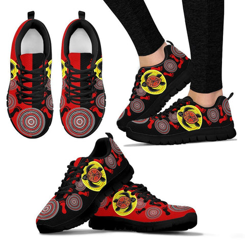 Australia Aboriginal Sneakers, Turtle Footprint Circle Dot Painting Ver 02