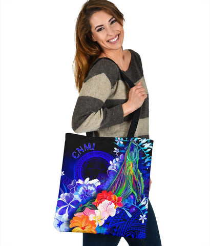 CNMI Tote Bags - Humpback Whale with Tropical Flowers (Blue)