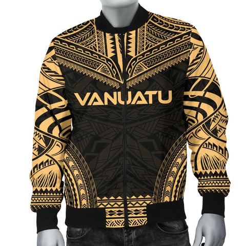 Vanuatu Polynesian Chief Men's Bomber Jacket - Gold Version - Bn10