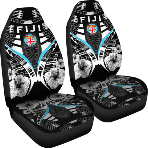 Fiji Tattoo Car Seat Covers Hibiscus - Black White Color 4