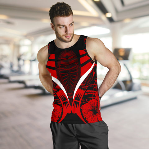 Image of Polynesian Tattoo Men Tank Top Hibiscus Red 4