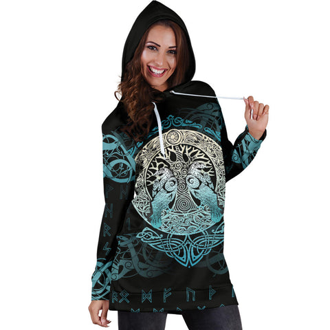 Viking Hoodie Dress Yggdrasil and Ravens A7