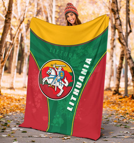 Image of Lithuania - Lietuva Premium Blanket Circle Stripes Flag Proud Version K13