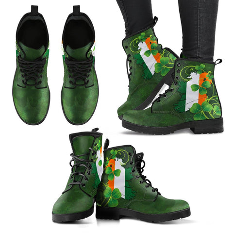 Ireland Flag Shamrock Learther Boots